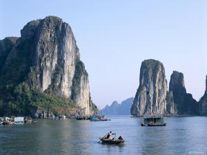Halong Bay, Karst Limestone Rocks, House Boats, Vietnam by Steve Vidler