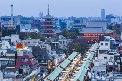 Japan, Honshu, Tokyo, Asakusa,  Nakamise Shopping Street and Sensoji Temple aka Asakusa Kannon Temp by Steve Vidler