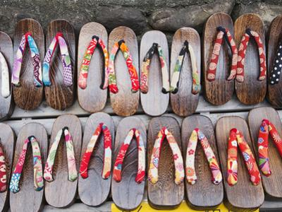 Japan, Kyoto, Higashiyama, Shop Display of Traditional Japanese Sandals or Geta by Steve Vidler