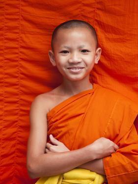 Laos, Luang Prabang, Wat Sensoukarahm, Portrait of Monk by Steve Vidler