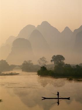 Li River and Limestone Mountains and River,Yangshou, Guangxi Province, China by Steve Vidler