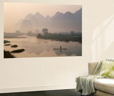 Li River and Limestone Mountains and River,Yangshou, Guangxi Province, China