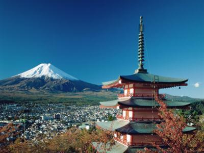 Mount Fuji and Pagoda, Hakone, Honshu, Japan by Steve Vidler