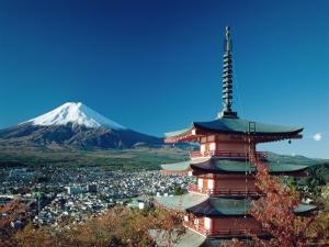 Mount Fuji and Pagoda, Hakone, Honshu, Japan by Steve Vidler