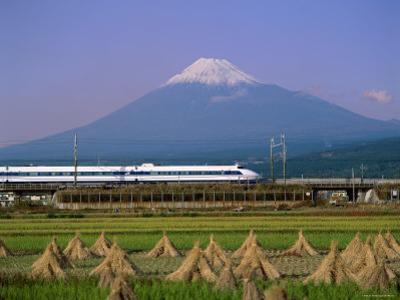 Mount Fuji, Bullet Train and Rice Fields, Fuji, Honshu, Japan by Steve Vidler