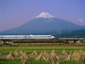 Mount Fuji, Bullet Train and Rice Fields, Fuji, Honshu, Japan by Steve Vidler