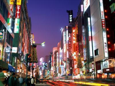 Shinjuku, Shinjuku-dori, Nightlights, Tokyo, Honshu, Japan by Steve Vidler
