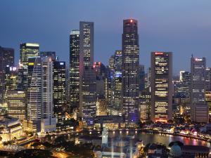 Singapore, City Skyline at Night by Steve Vidler