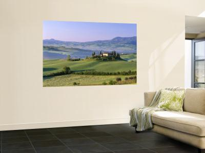 Val d'Orcia, Countryside View, Farmhouse and Green Grass and Hills, Tuscany, Italy by Steve Vidler