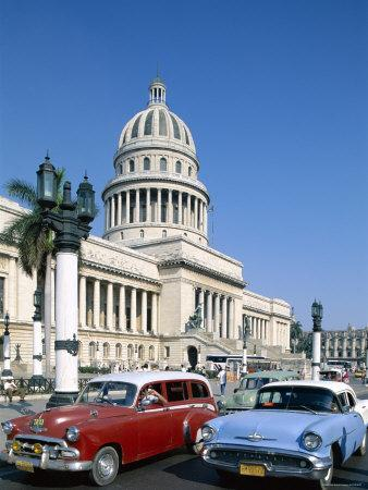 Vintage Cars and Capitol Building, Havana, Cuba