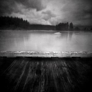 Timber Decking by Lake by Steven Allsopp