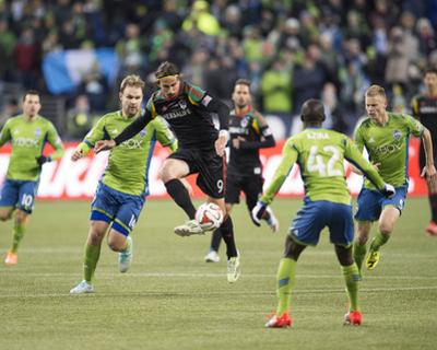 2014 MLS Western Conference Championship: Nov 30, Galaxy vs Sounders - Alan Gordon, Chad Marshall by Steven Bisig
