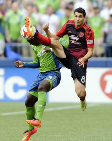 Jul 13, 2014 - MLS: Portland Timbers vs Seattle Sounders - Diego Valeri, Jalil Anibaba by Steven Bisig