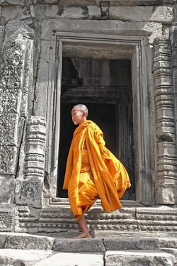 Buddhist Monk on Steps by Steven Boone