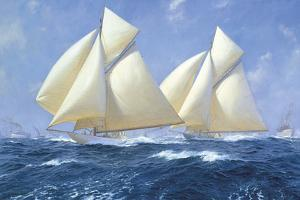 Columbia and Shamrock off Rhode Island, 1899 by Steven Dews