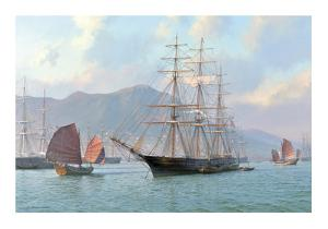 Overhauling Sails before the Heat of the Sun. Sea Witch Hong Kong 1849 by Steven Dews