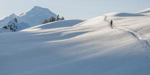 A Young Woman on the Approach While Backcountry Skiing in the North Cascades, Washington by Steven Gnam