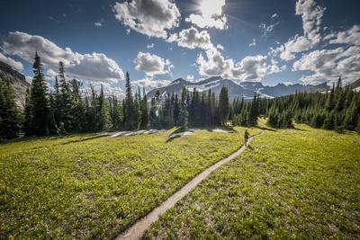 A Young Woman Trail Running in Glacier National Park, Montana