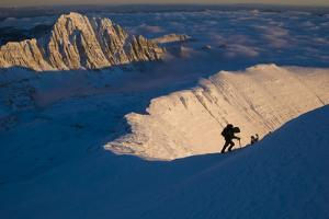 Climber on Ridge at Sunset; Lake County, Western Montana by Steven Gnam