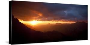 Sunrise from the Lewis Range, Glacier County, Glacier-Waterton International Peace Park, Montana by Steven Gnam