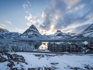 Sunset over the Many Glacier Hotel, Glacier National Park, Montana. by Steven Gnam