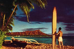 Outrigger & Diamond Head, Surfer, Oahu, Hawaii, c.1951 by Stewart Fern