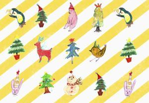 Sticker Icon Pack of Animals and Christmas Tree