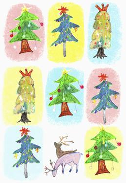 Sticker Icon Pack of Christmas Trees