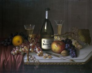 Still Life with a Bottle of Champagne and Two Glasses, with Various Fruit