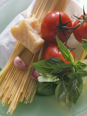 Still Life with Spaghetti, Tomatoes, Basil & Parmesan
