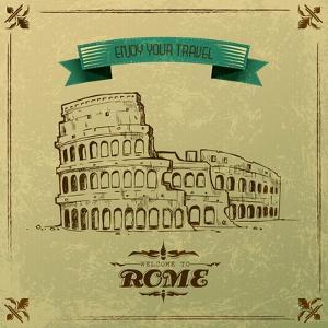 Roman Colosseum For Retro Travel Poster by stockshoppe