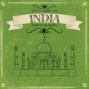 Taj Mahal Of India For Retro Travel Poster by stockshoppe
