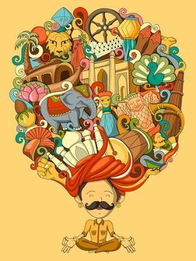 Vector Illustration of Dream and Thought of Indian Man by stockshoppe
