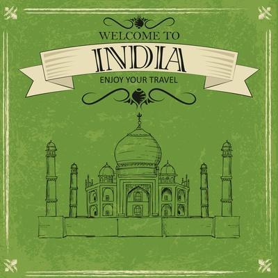 Vector Illustration of Taj Mahal of India for Retro Travel Poster