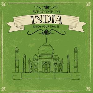 Vector Illustration of Taj Mahal of India for Retro Travel Poster by stockshoppe