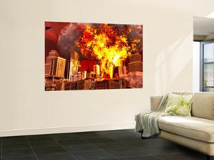 A 3D Conceptual Image of a Stealth Bomber Nuking a City by Stocktrek Images