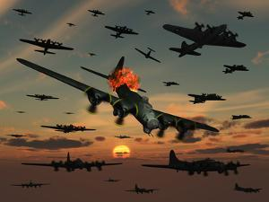 A B-17 Flying Fortress Is Set Ablaze by a German Interceptor Fighter Plane by Stocktrek Images