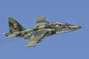 A Bulgarian Air Force Su-25 in Flight over Bulgaria by Stocktrek Images