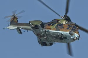 A Bulgarian Air Force Super Puma Helicopter in Flight over Bulgaria by Stocktrek Images