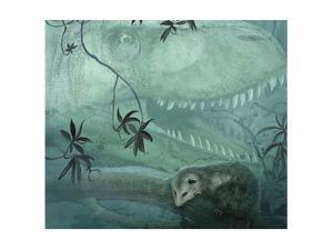 A Carnivorous Albertosaurus Stalks a Primitive Alphadon Oppossum by Stocktrek Images