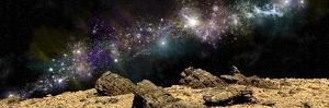 A Colorful Nebula Above a Rocky and Barren Alien World by Stocktrek Images