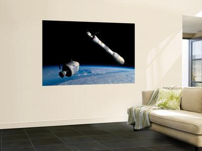 A Command Module Approaches an Awaiting Rocket in Earth Orbit by Stocktrek Images