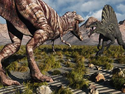 A Confrontation Between a T. Rex and a Spinosaurus Dinosaur by Stocktrek Images