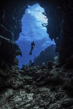 A diver stops at the entrance to an underwater cave in Grand Cayman, Cayman Islands by Stocktrek Images