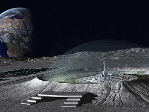 A Domed Crater Is Home To a Lunar City. Earth Rises in the Background by Stocktrek Images