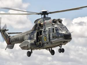 A Eurocopter AS332 Super Puma Helicopter of the Brazilian Navy by Stocktrek Images