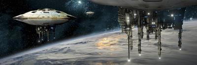 A Fleet of Massive Spaceships Take Position over Earth for a Coming Invasion