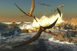 A Flock of Anhanguera Pterosaurs Catch Fish Off a Rocky Coast by Stocktrek Images