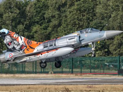 A French Air Force Mirage 2000 Lands on the Runway at Kleine Brogel Air Base, Belgium