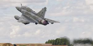 A French Air Force Mirage 2000D Taking Off in Spain by Stocktrek Images